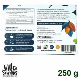 Chocolate de Mesa sin dulce 250 gr Procolcacao - Tabla Nutricional