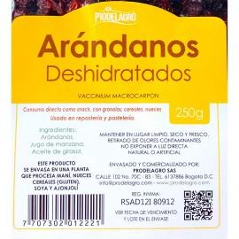Detalle etiqueta Arándanos Cranberries 250 gr PRODELAGRO Deshidratados