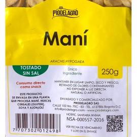 Detalle etiqueta Maní Tostado sin sal 250 gr Prodelagro