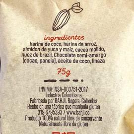 Detalle etiqueta-Brownie Vegano 75 gr Bahji