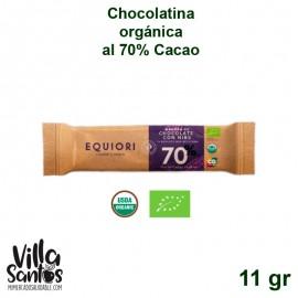 Barra de Chocolatina orgánica al 70% de 11 gr marca Equiori